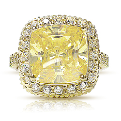 Cushion Cut CZ with Halo of Rounds Designer Inspired Ring