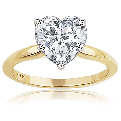 Heart Shaped CZ Classic Style Solitaire Engagement Ring