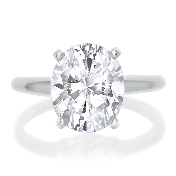 White gold oval cubic zirconia solitaire ring