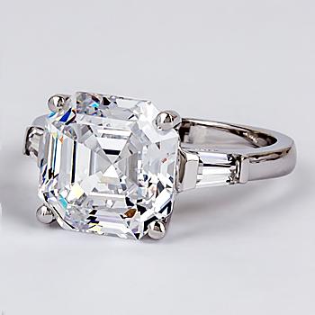 Asscher Cut CZ Baguette Engagement Solitaire Ring