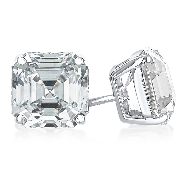 Asscher Cut Cubic Zirconia Stud Earrings