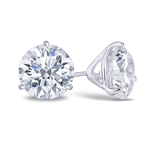 b63d57d84 14K white gold cubic zirconia round martini stud earring
