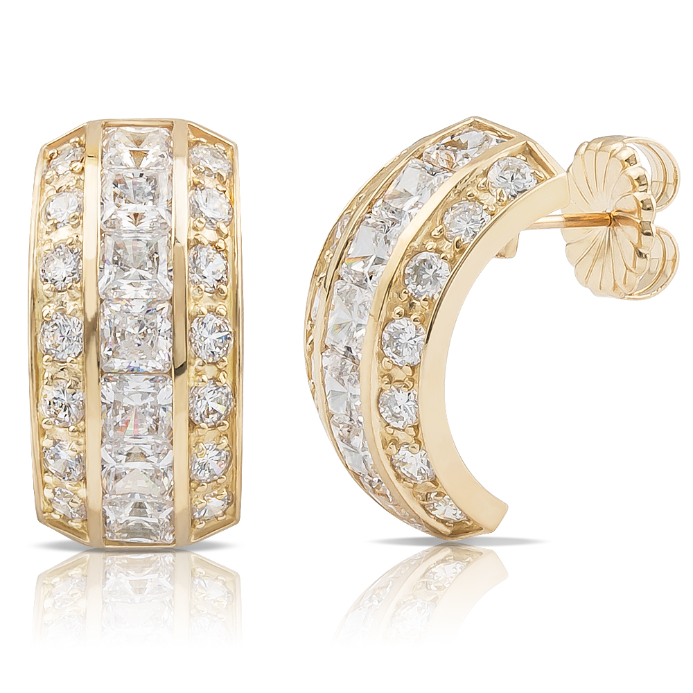 Veronica Princess & Rounds CZ Large Hoop Earrings