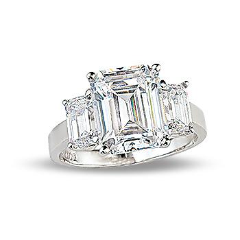 Margaret Emerald Cut Cubic Zirconia Three Stone Ring