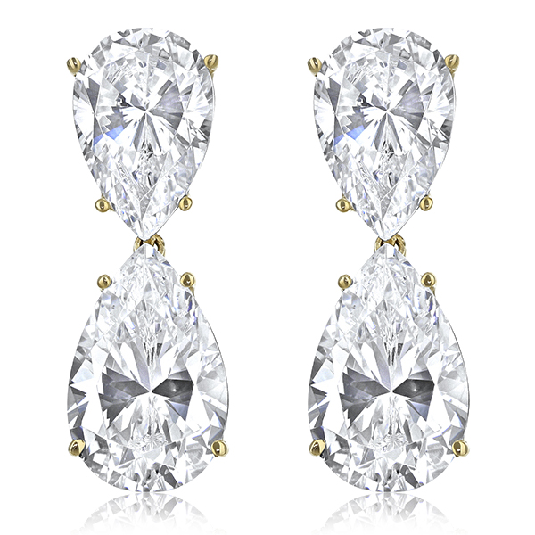 Milena Pear Top with Pear Drop Cubic Zirconia Earrings