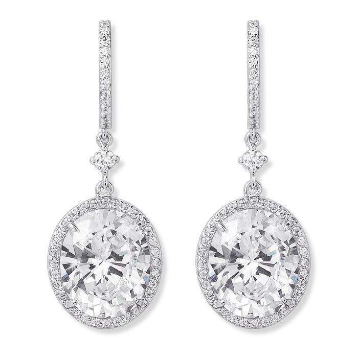 Elyse Huggie Top 4.0 Carat Oval Drop Halo Earrings, 8.56 Ct TW