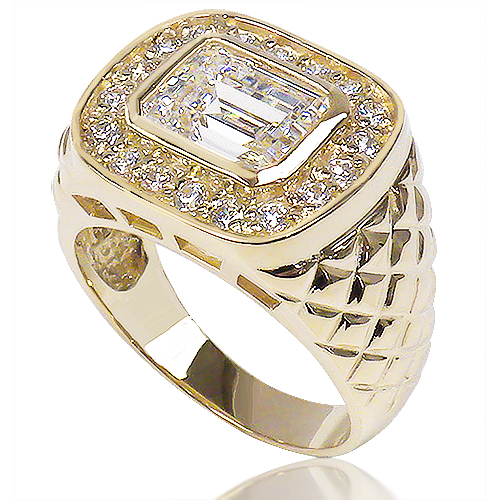 Ethan 4.0 Carat Emerald Cut with Rounds Diamond Patterned Ring