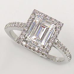 Esmé Emerald Cut CZ Halo Solitaire Ring