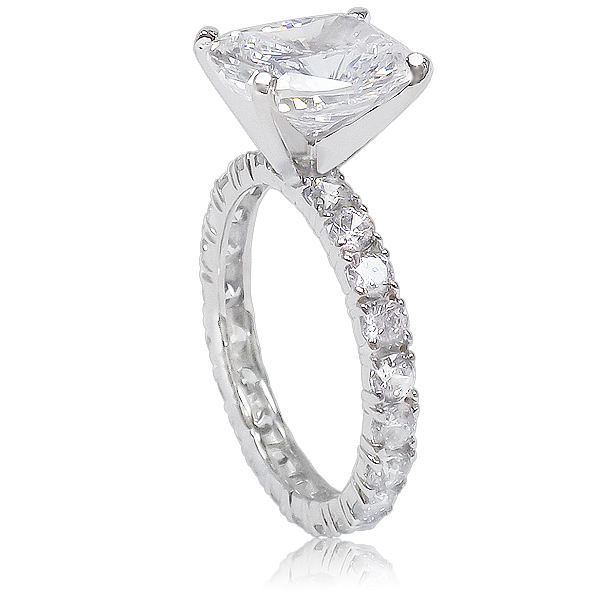Elongated Cushion Cut on Rounds Eternity Band Solitaire