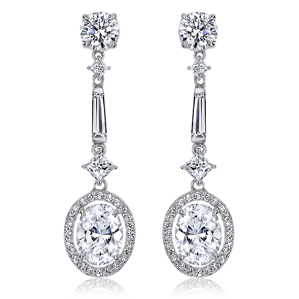 Venus Cubic Zirconia Halo Oval Drop Earrings, 4.4 Carats TW