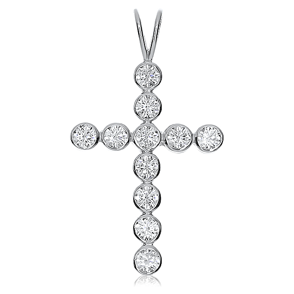 Abigail Bezel Set Rounds CZ Cross Pendant, 1.32 Ct TW