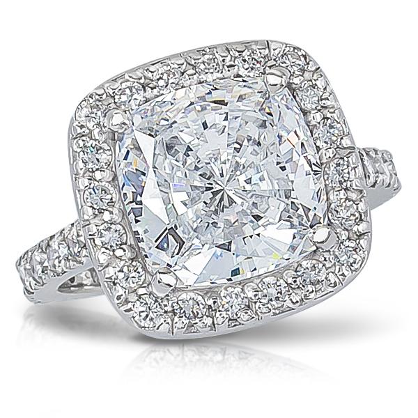 Brenina Cushion Cut Cz Halo Solitaire Engagement Ring