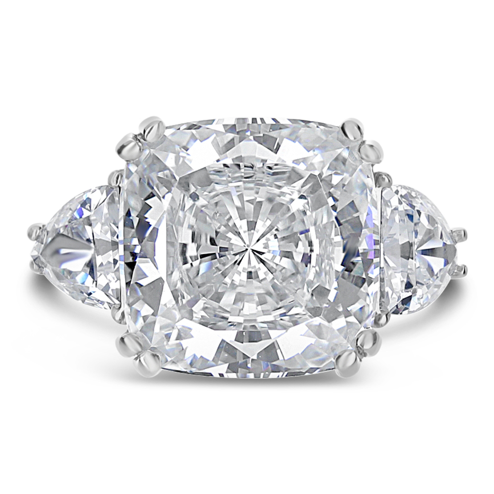 Grace Cushion Cut with Shield Side Stones Cubic Zirconia Ring