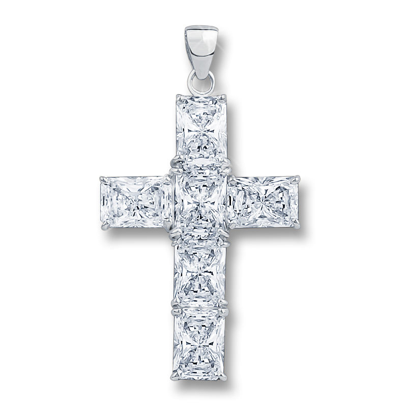 Epiphany Starbust Emerald Cut CZ Cross Pendant, 6.0 Carats Total