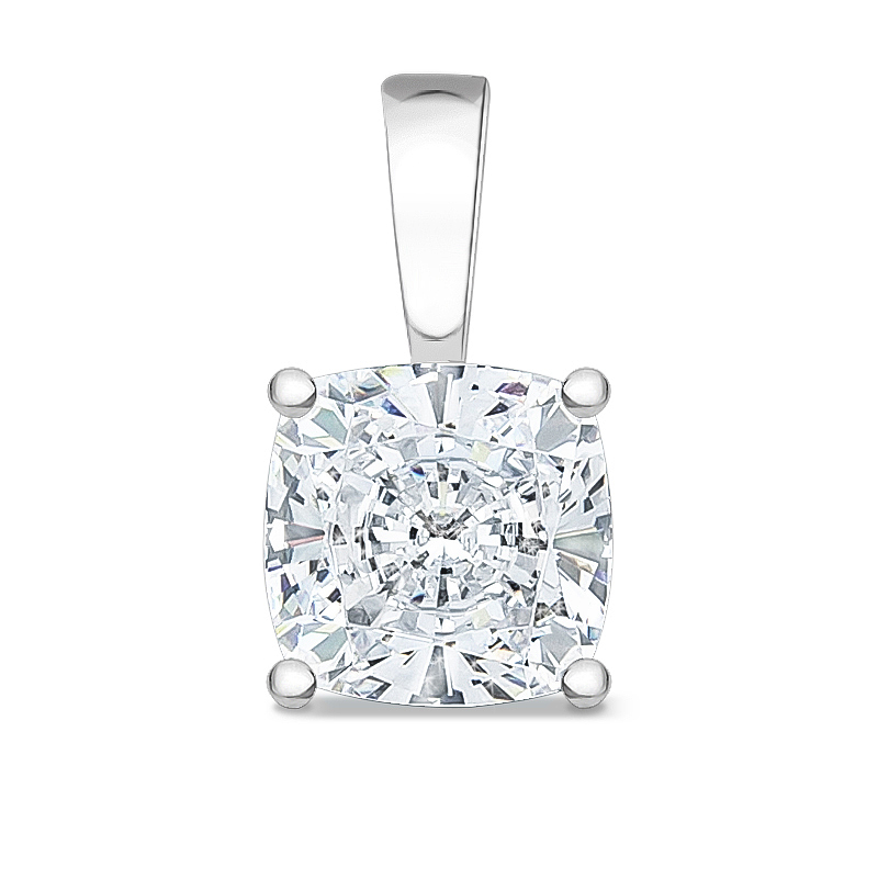 Allure Cushion Cut Cubic Zirconia Solid Bail Solitaire Pendant