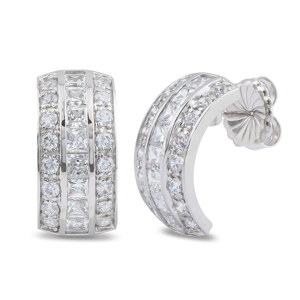 Veronica Princess & Rounds CZ Small Hoop Earrings