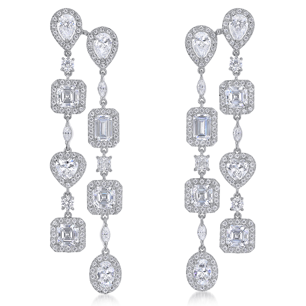 Grande CZ Halo Chandelier Drop Earrings