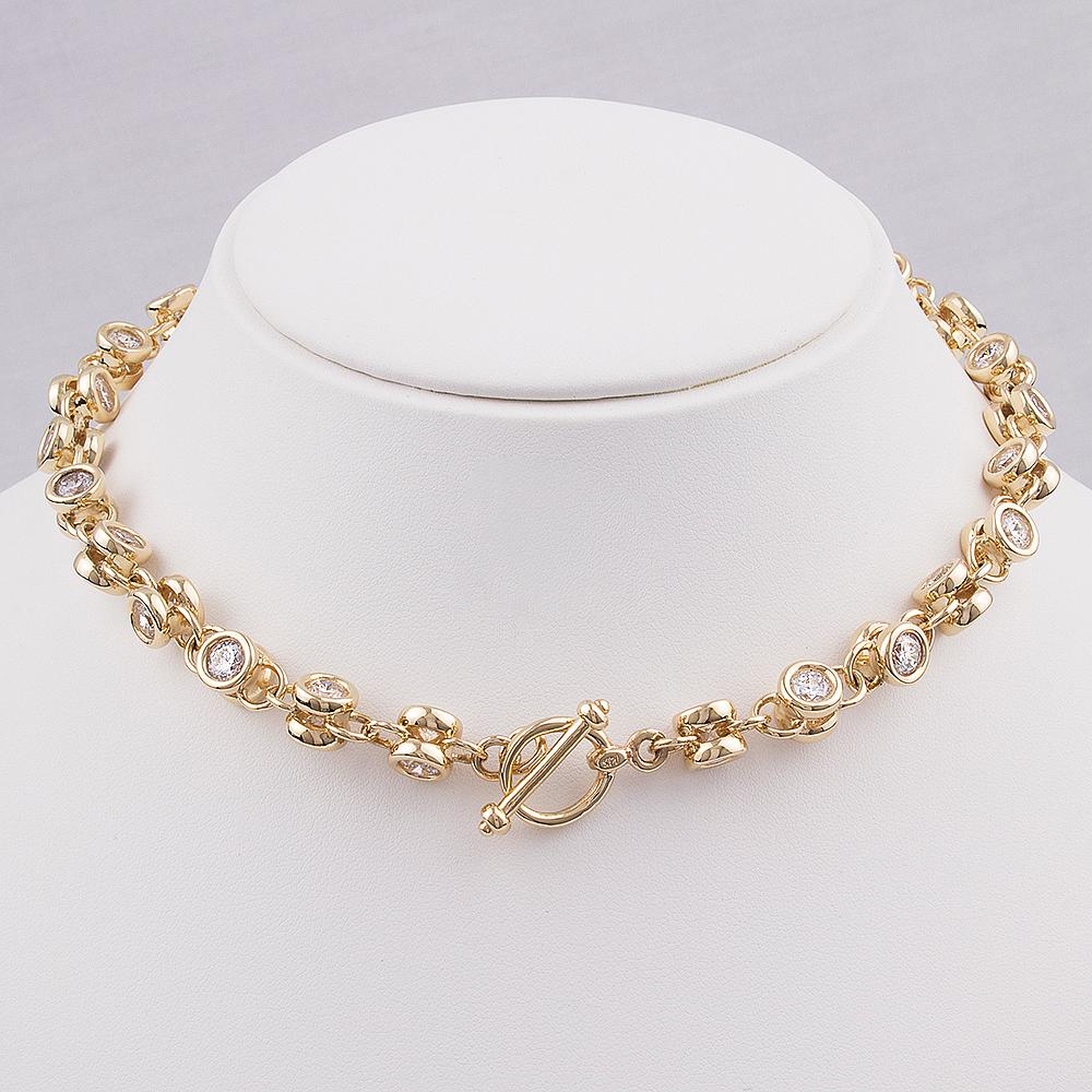 14K CZ Toggle Necklace