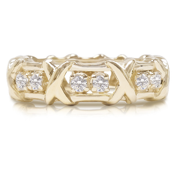"""SALE - Kisses Cubic Zirconia Rounds Eternity Band with """"X"""" Design"""