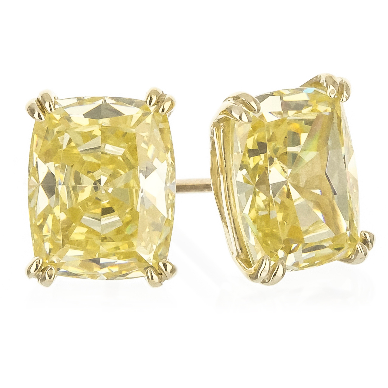 Elongated Cushion Cut with Split Prongs Stud Earrings