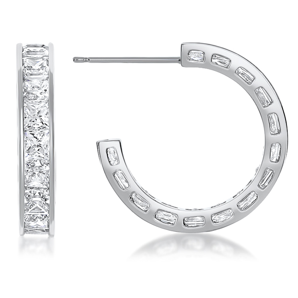 Small Ronnie Sleek Channel Set Princess Cut CZ Hoops