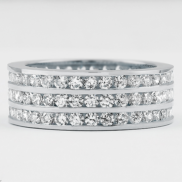 Bandeau Channel Set Rounds Triple Row Eternity Band