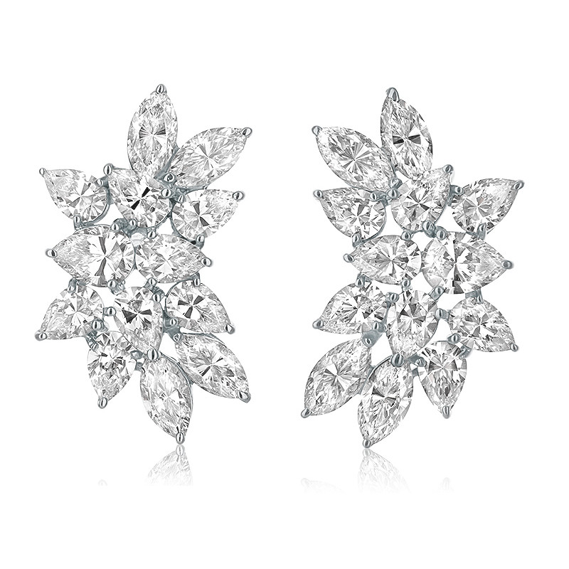 Cassandra Large Pear & Marquise Cluster CZ Earrings