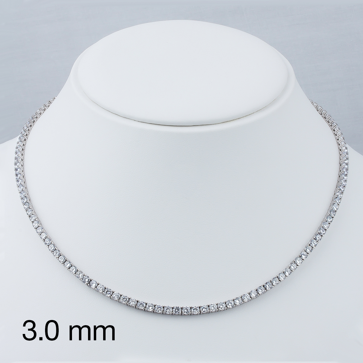 Classic Round Cubic Zirconia Eternity Tennis Necklace with 3.0mm Stones