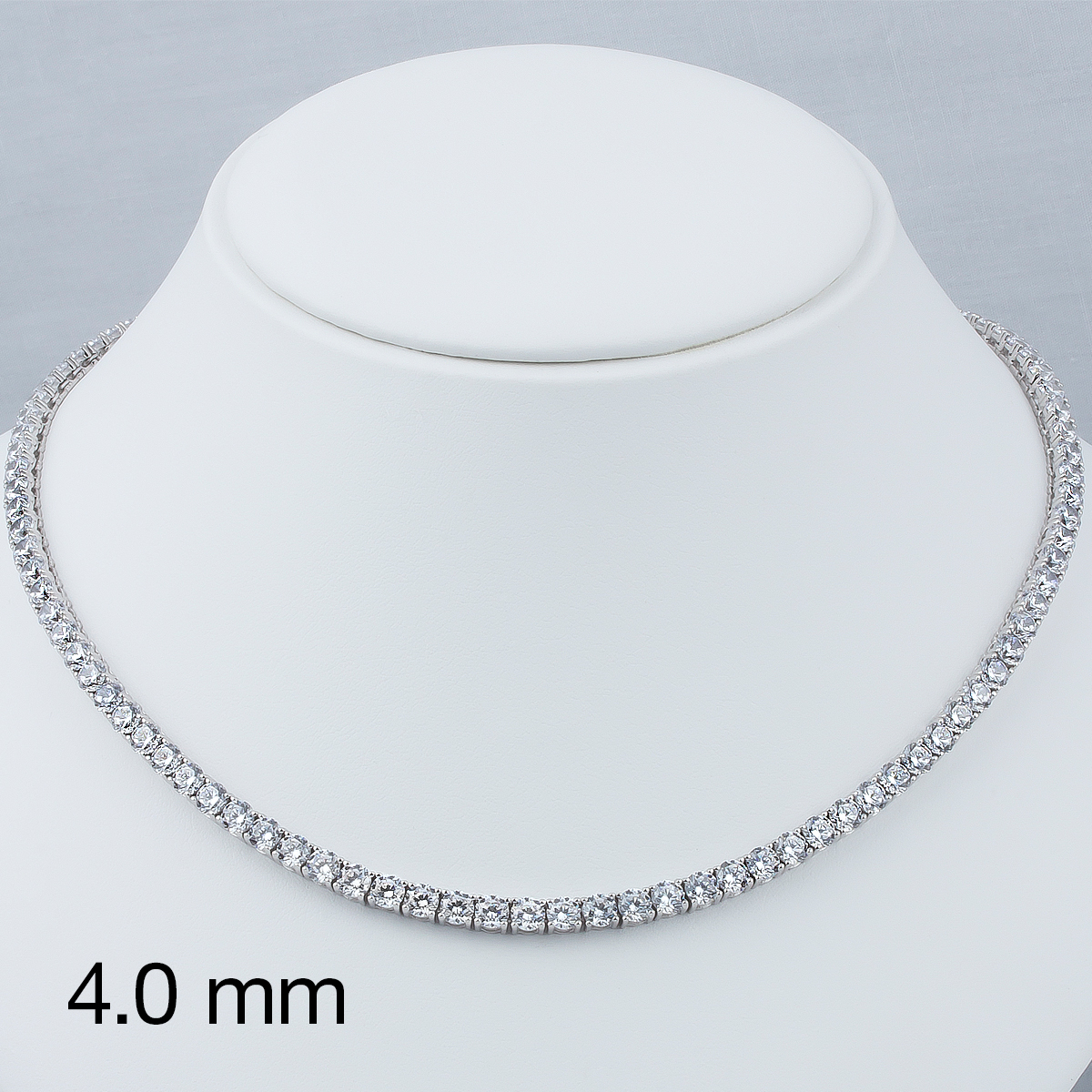 Classic Round Cubic Zirconia Eternity Tennis Necklace with 4.0mm Stones