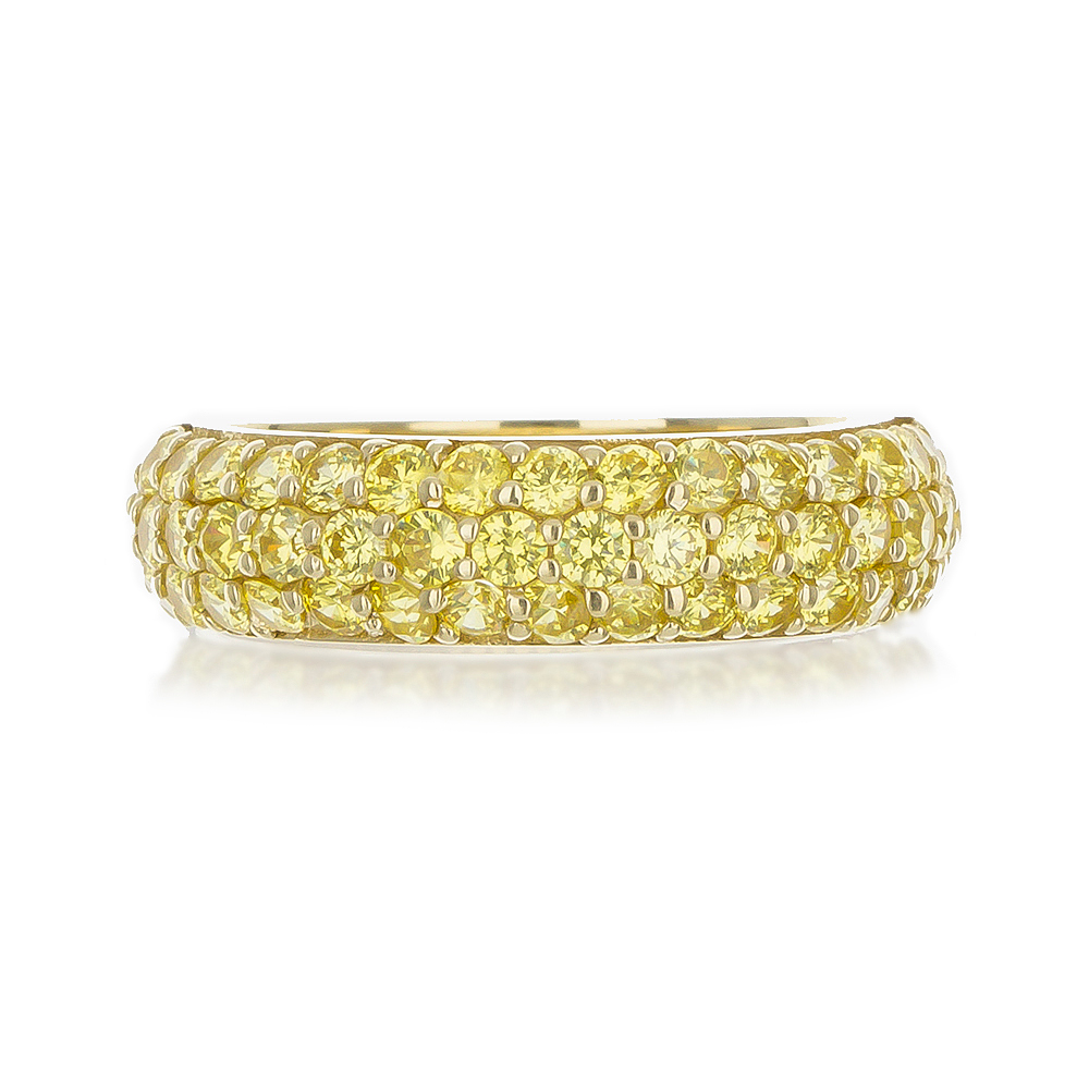 YELLOW DIAMOND CZ PAVE WEDDING BAND