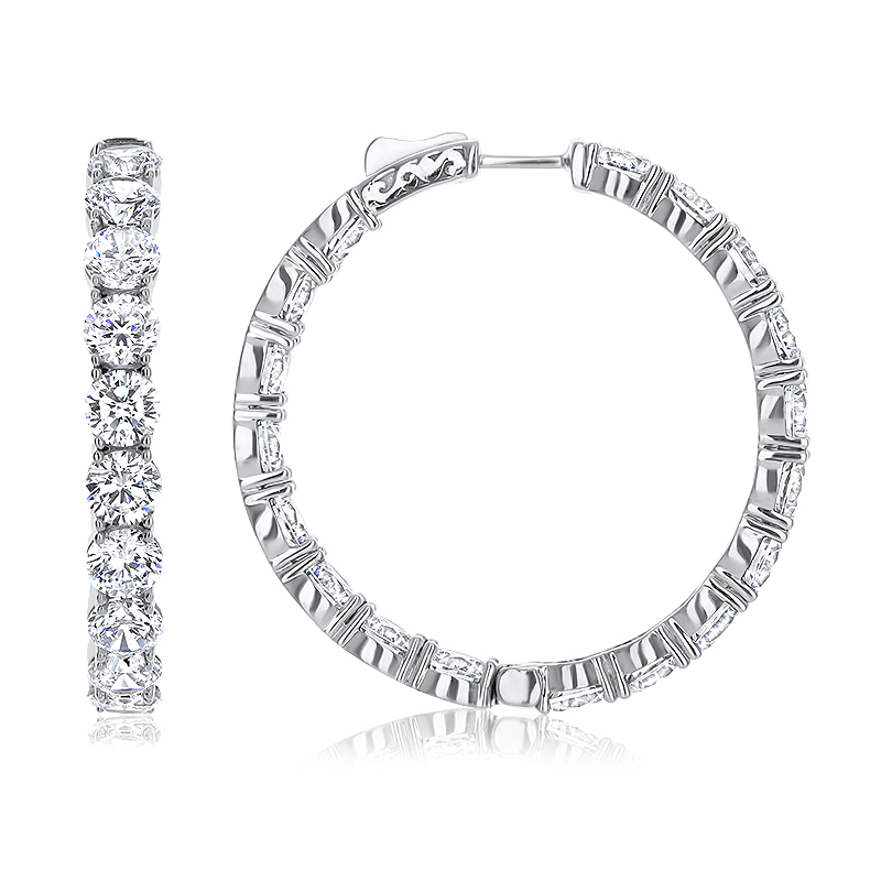 Pacifica Vault Lock Inside Out Rounds CZ Earring Hoops, 18.0 Carats Total