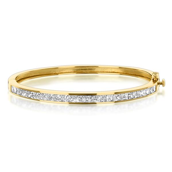 Channel Set Princess Cuts Bangle Bracelet, 6.0 CTW