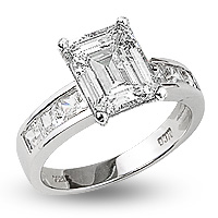 Quinn Emerald Cut with Princess Sides CZ Engagement Ring