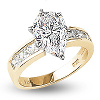 Quinn Pear with Princess Cut Sides CZ Solitaire Ring