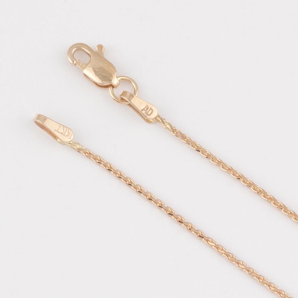 14K Gold Diamond Cut Wheat Chain 1.0mm