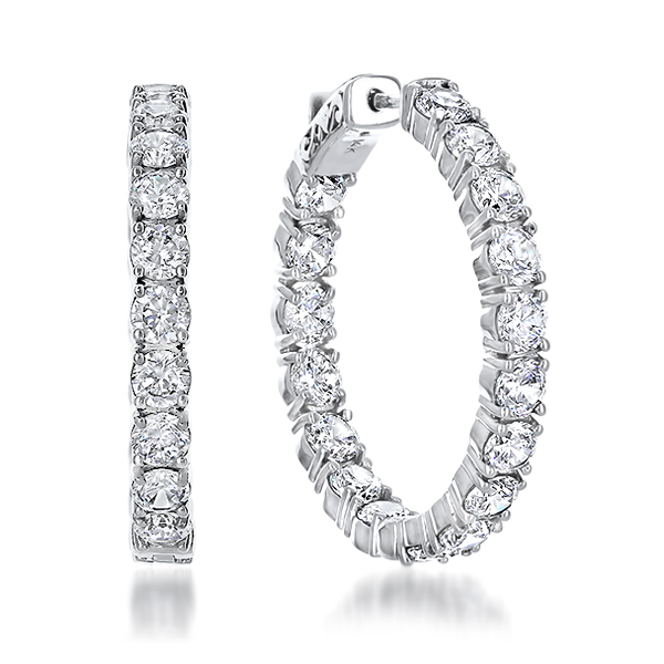 Florence Vault Lock Inside Out Rounds CZ Earring Hoops, 8.0 Carats Total