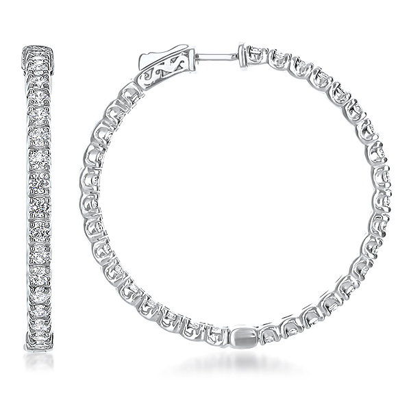 Placida Vault Lock Inside Out Rounds CZ Earring Hoops, 5.7 Carats Total