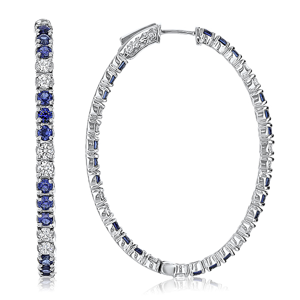 Solana Vault Lock Front Facing CZ & Sapphire Oval Shaped Hoops, 6.0 Carats Total