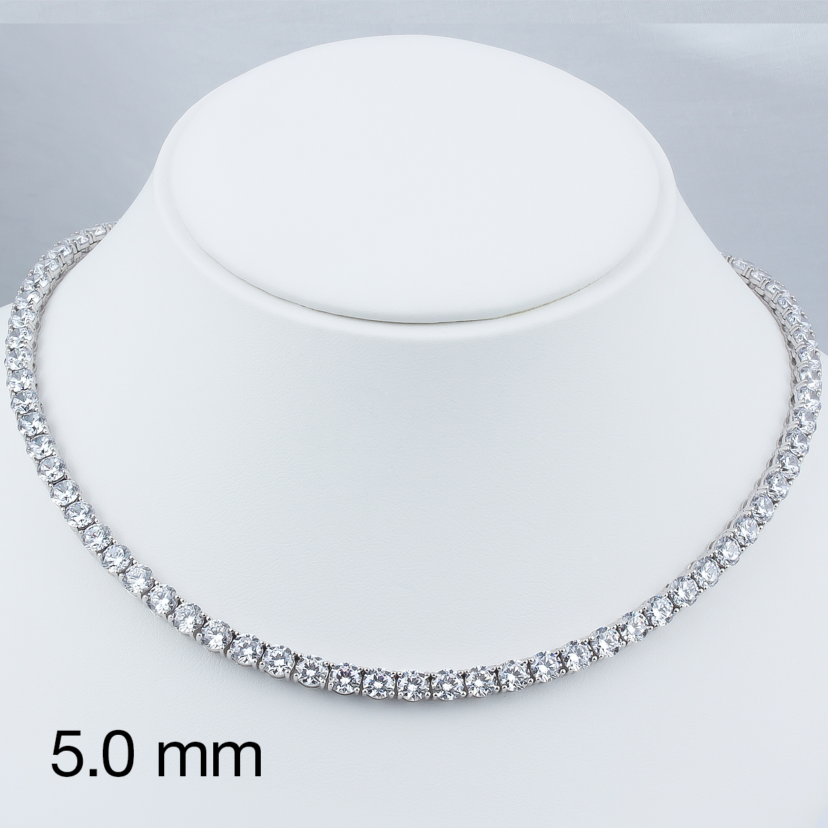 Classic Round Cubic Zirconia Eternity Tennis Necklace with 5.0mm Stones