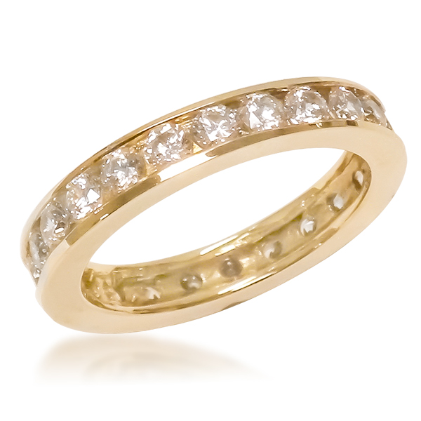 SALE - Channel Set Round CZ Eternity Band (select finger sizes)