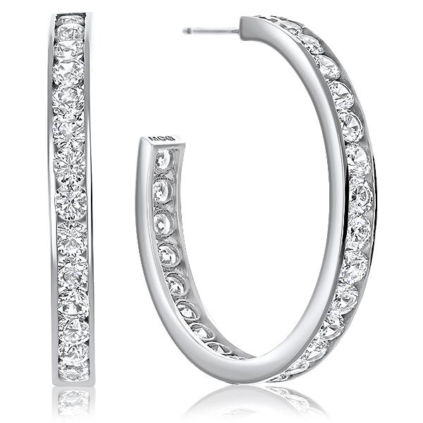 SALE - 3.0 CTW Channel Set Rounds Cubic Zirconia Hoop Earrings