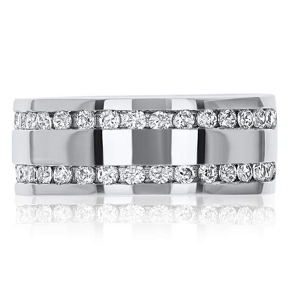 Collin Double Channel Set Rounds Wide Band Men's Ring, 0.68 Ct TW