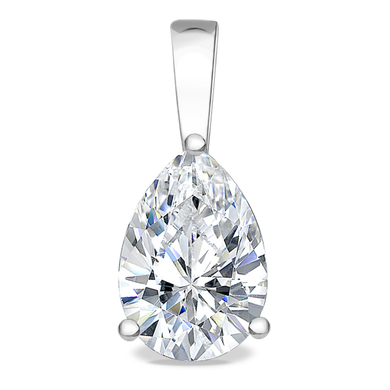 Allure Pear Cubic Zirconia Solid Bail Solitaire Pendant
