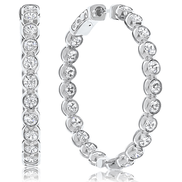 Annette Bezel Vault Lock Inside Out CZ Hoops, 5.0 Carats Total