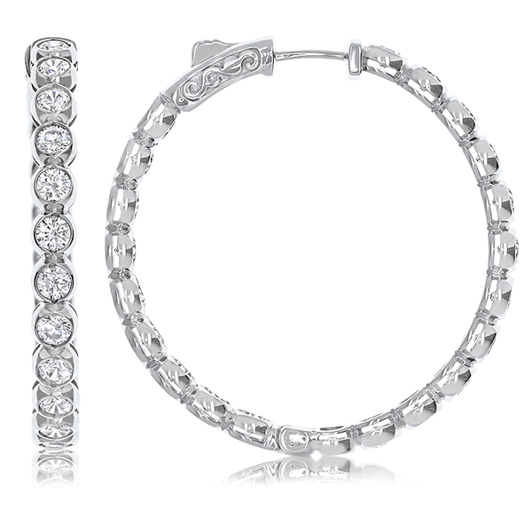 Annette Bezel Vault Lock Inside Out CZ Hoops, 5.0 Carats Total