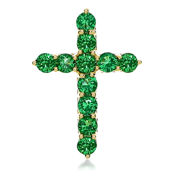 Green Emerald Look Rounds Designer Inspired Cross Pendant, 0.5 Carats