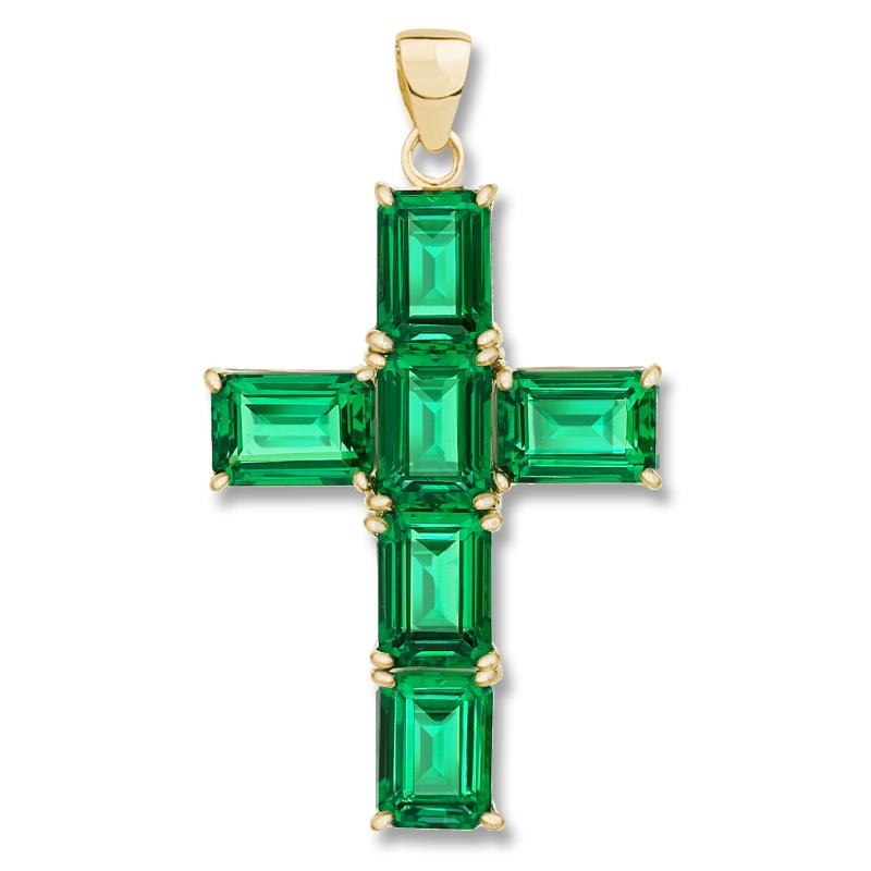 Epiphany Green Emerald Look Emerald Cut Cross Pendant, 6.0 Carats
