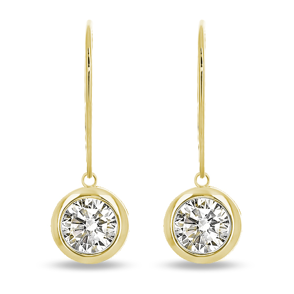 Tessa Round Bezel CZ Leverback / Eurowire Dangle Earrings