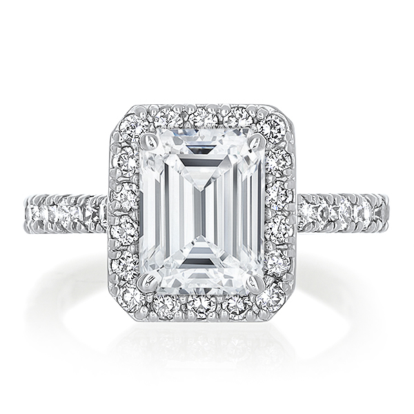 Brenina Classic Emerald Cut CZ Halo Solitaire Engagement Ring