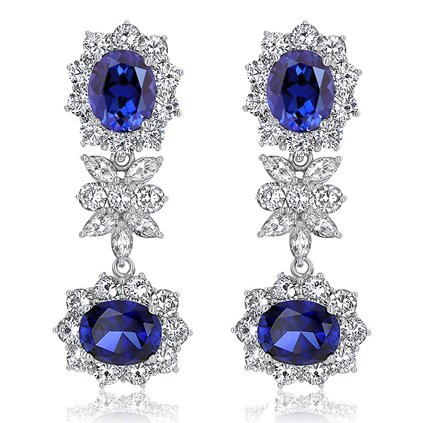Manalapan Oval with Marquise & Rounds Cluster Drop Earrings